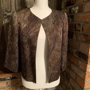Lafayette 148 Brown Textured Blazer 3/4 Sleeve